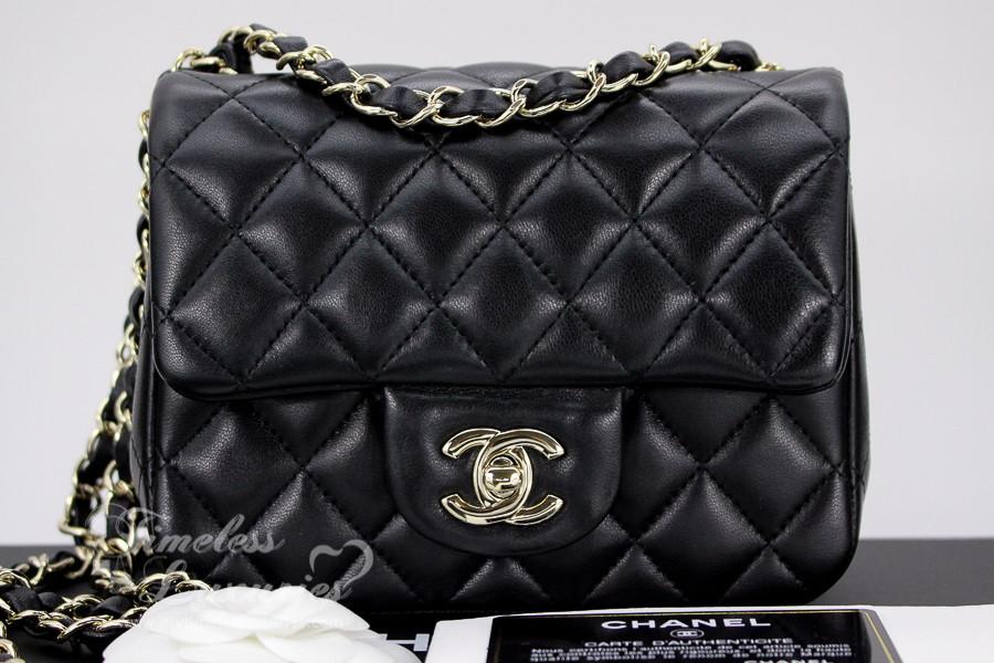 acee46dedd6c CHANEL 17S Black Lambskin Square Mini Flap Bag Lt Gold Hw #24121603 -  Timeless Luxuries