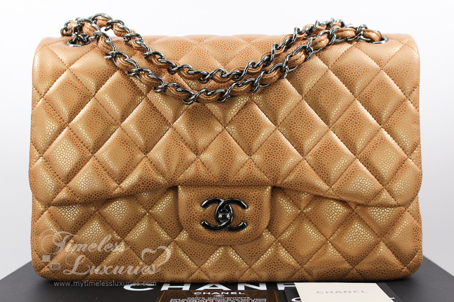 2eaf87162b7e CHANEL Copper Metallic Caviar Jumbo Classic Double Flap Bag #14887583 - Timeless  Luxuries