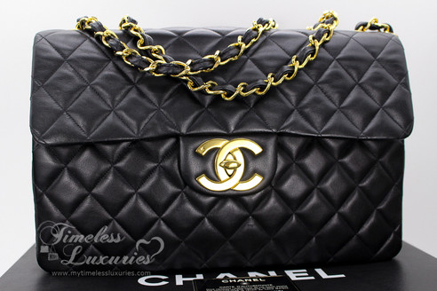 8cfc78d7389 CHANEL Black Vintage Jumbo XL/ Maxi Classic Flap Bag Gold Hw ...