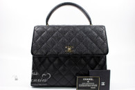 CHANEL Black Caviar Quilted Jumbo Kelly Flap Bag Gold Hw #6875084