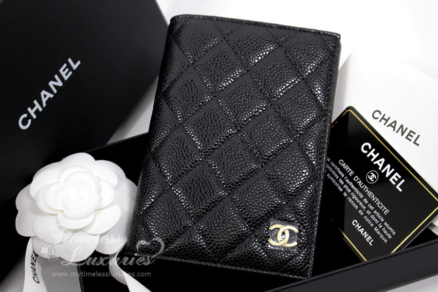0054ecd2a30a CHANEL 2018 Black Caviar Passport Cover/ Holder Lt Gold Hw #25xxxxxx *New -  Timeless Luxuries