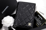CHANEL 2018 Black Caviar Passport Cover/ Holder Lt Gold Hw  #25xxxxxx *New