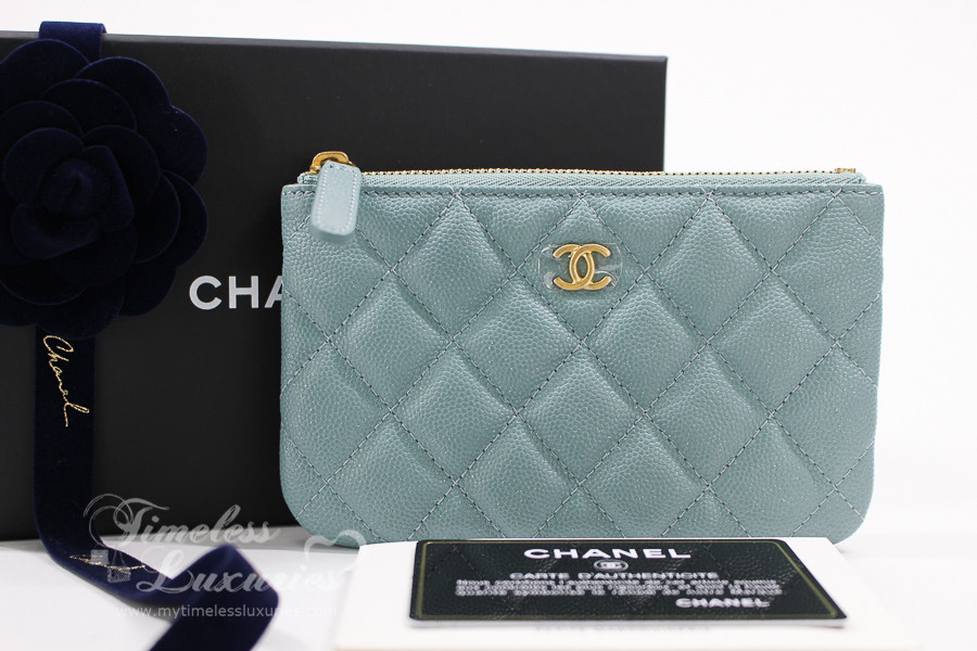 CHANEL 18C Lt Blue Iridescent Caviar Mini O-Case Pouch  25xxxxxx  New -  Timeless Luxuries 18f072ae82f20