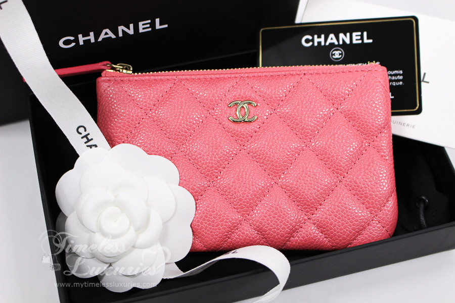 4b41a1a9a676 CHANEL 18S Pearly Pink Caviar Mini O-Case Pouch  25xxxxxx  New - Timeless  Luxuries