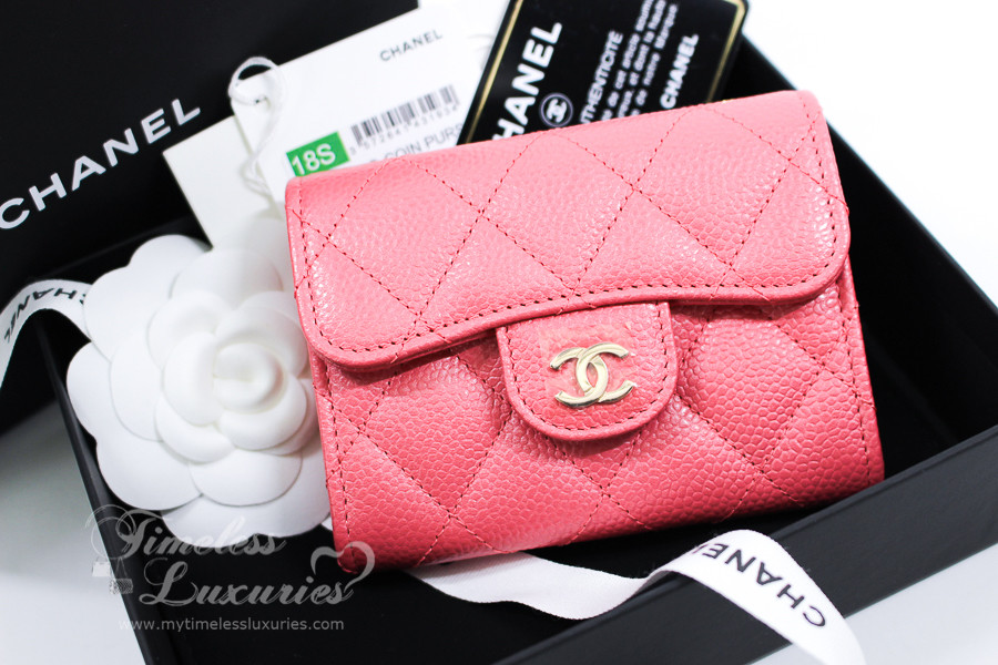 13d847e4d8d1 CHANEL 18S Pearly Pink Caviar Card Holder w/ Back Pocket #25xxxxxx *New -  Timeless Luxuries