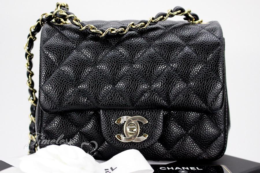 c001bc455504 CHANEL 18S Black Caviar Square Mini Classic Flap Lt Gold Hw #25xxxxxx *New  - Timeless Luxuries