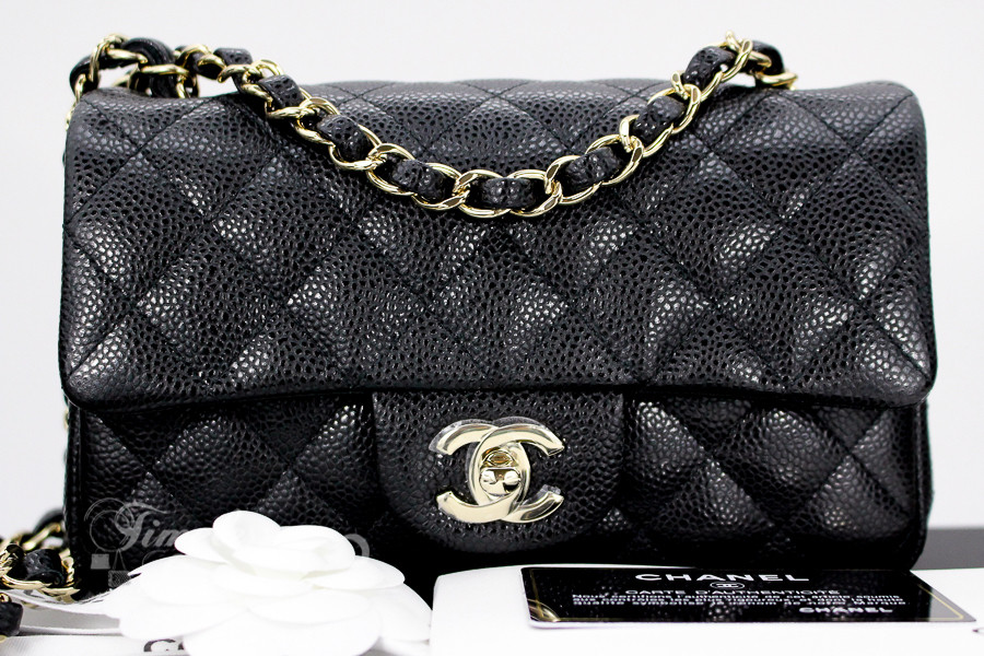 02ca4e699506 CHANEL 18S Black Caviar Rectangle Mini Lt Gold Hw #25xxxxxx *New - Timeless  Luxuries