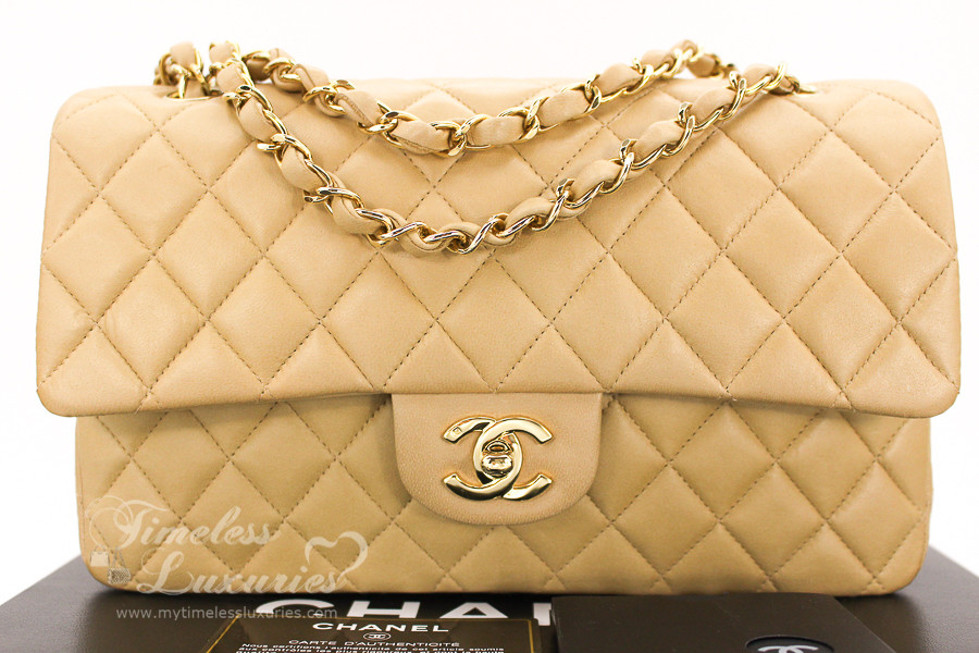 a5ec79301cb8 CHANEL Beige Lambskin Classic Double Flap Bag Gold Hw  7667554 - Timeless  Luxuries