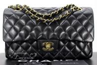 CHANEL Black Lambskin Classic Double Flap Bag Gold Hw #8849217
