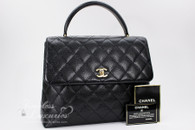 CHANEL Black Caviar Quilted Jumbo Kelly Flap Bag Gold Hw #6375820