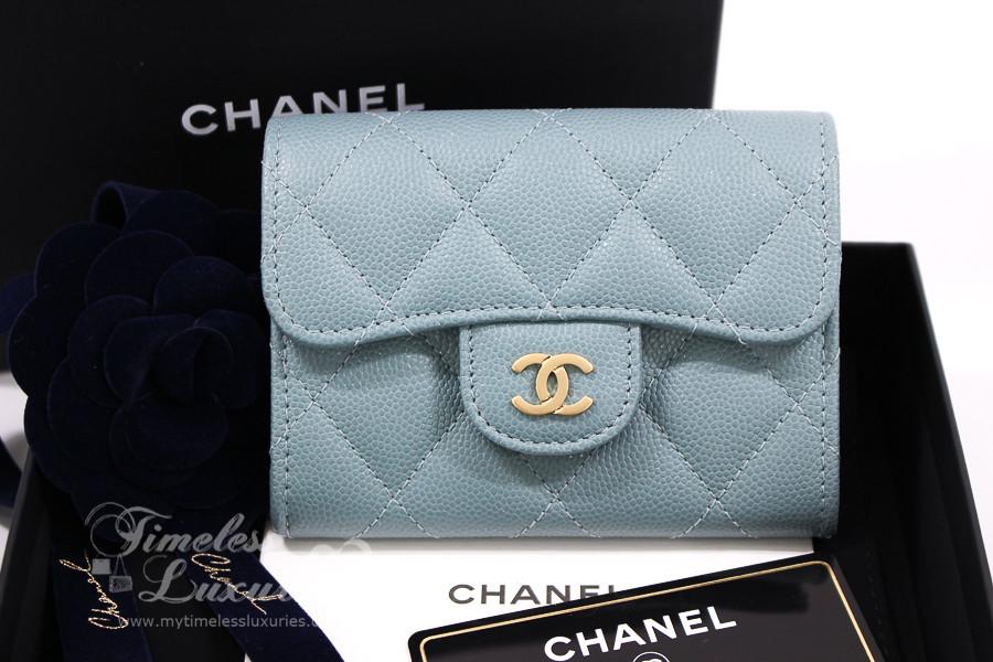 b3dfbc17253f32 CHANEL 18C Lt Blue Iridescent Caviar Cardholder Wallet #25xxxxxx *New - Timeless  Luxuries
