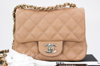CHANEL 18S Beige Caviar Square Mini Classic Flap Lt Gold Hw #25xxxxxx *New