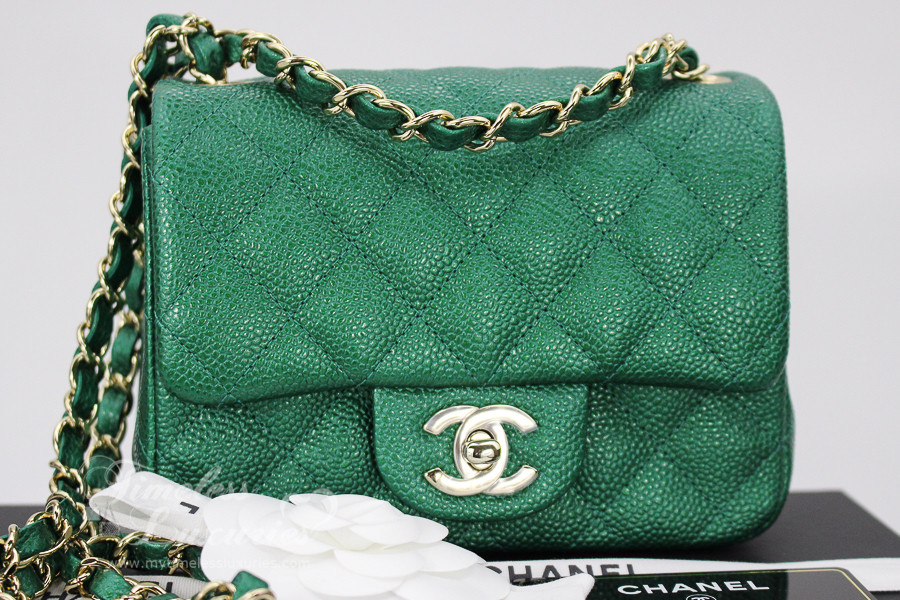 24371c7ddd2e CHANEL 18S Emerald Green Caviar Square Mini Flap Lt Gold Hw  25xxxxxx  New  - Timeless Luxuries