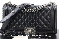CHANEL Black Lambskin Quilted Boy Flap Bag Ruthenium Hw #16267989