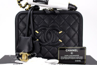 CHANEL 2018 Black Caviar CC Filigree Medium Vanity Case Bag #25xxxxxx *New