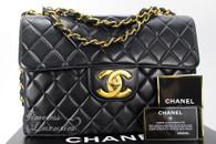 CHANEL Black Lambskin Vintage Jumbo Classic Flap Bag Gold Hw #4935444