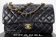 CHANEL Black Lambskin Classic Double Flap Bag Gold Hw #3954983