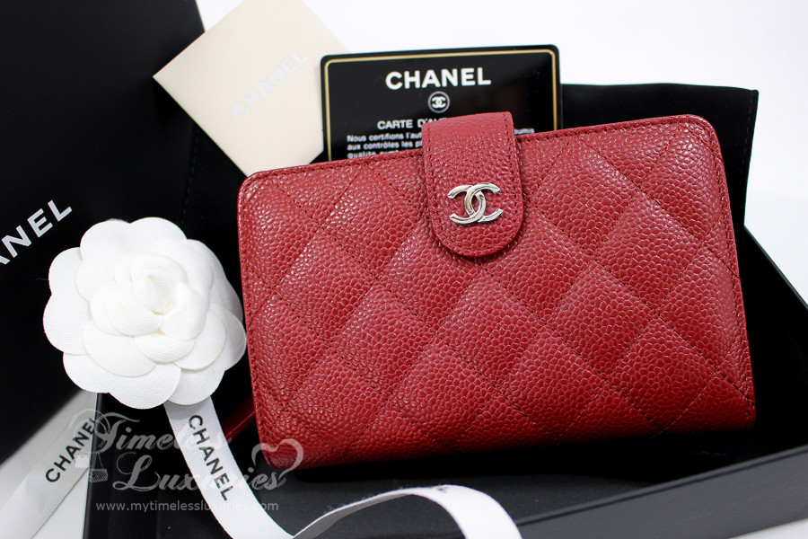 3fedea152c57 CHANEL 00V Red Caviar French Purse Bifold Wallet Silver Hw#21131750 - Timeless  Luxuries