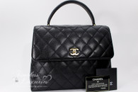 CHANEL Black Caviar Quilted Jumbo Kelly Flap Bag Gold Hw #6375584