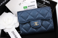 CHANEL 18S Pearly Blue Caviar Card Holder w Back Pocket #25xxxxxx *New