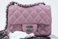 CHANEL 15B Mauve Pink Caviar Square Mini Flap Bag #21457820 *New