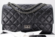 CHANEL Black Aged Calf 2.55 Reissue 226 Flap Ruthenium Hw #23502353 *New
