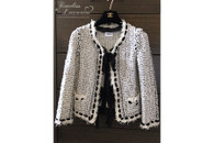 CHANEL 05P Fantasy Tweed Fringe Cardi Jacket Chiffon Bows 36 FR