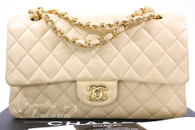CHANEL Beige Clair Lambskin Classic Double Flap Gold Hw #19200994
