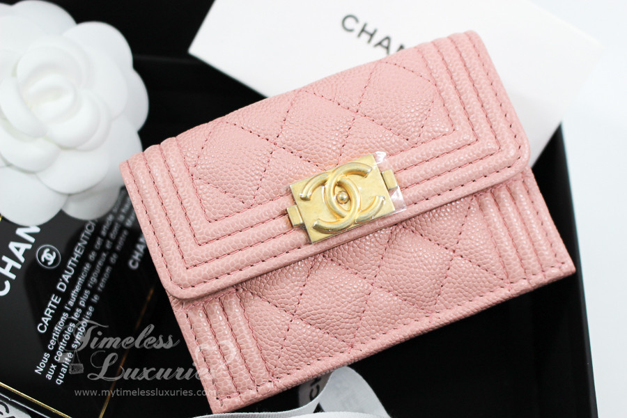 de1b05576a97 CHANEL 2018 Blush Pink Caviar Boy Compact Trifold Flap Wallet #25xxxxxx  *New - Timeless Luxuries