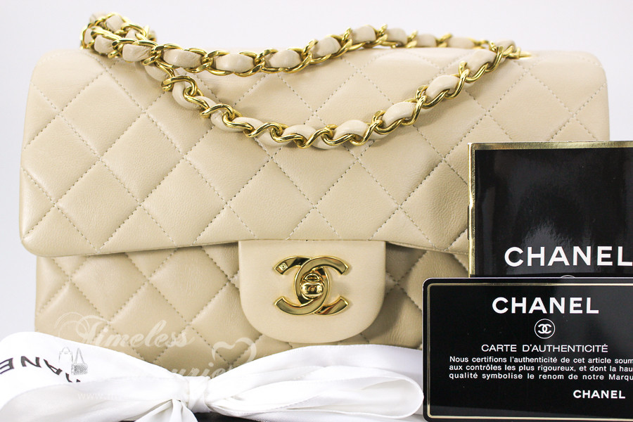 40ae8f88ad97 CHANEL Beige Lambskin Classic Double Flap Bag Gold Hw  3266627 - Timeless  Luxuries