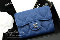 CHANEL 18C Blue Caviar XL Card Holder w Back Pocket #25220189 *New
