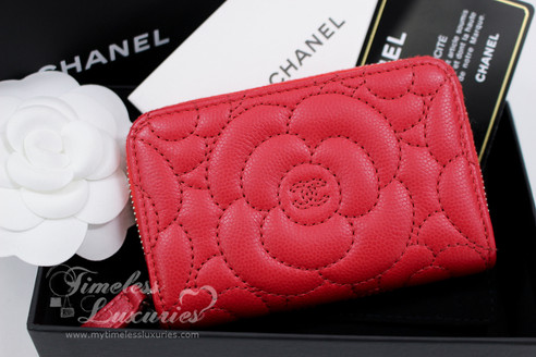CHANEL Red Caviar Camellia Zip Coin Purse/ Card Holder ...