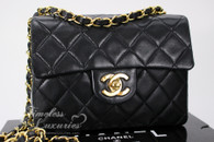 CHANEL Black Lambskin Square Mini Classic Flap Bag Gold Hw #1386194