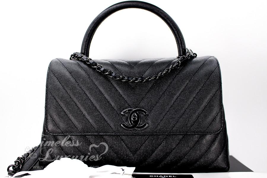 440d51e1a23981 CHANEL 18A 'So Black' Chevron Caviar Coco Handle Black Hw #26xxxxxx *New -  Timeless Luxuries