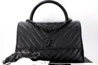 CHANEL 18A 'So Black' Chevron Caviar Coco Handle Black Hw #26xxxxxx *New