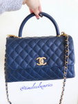 CHANEL 2018 Blue Caviar Coco Handle Bag Gold Hw #25709771