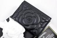 CHANEL Black Caviar Camellia Flat Card Holder Wallet #24xxxxxx *New