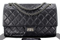 CHANEL Black Aged Calf 2.55 Reissue 226 Flap Bag Ruthenium Hw #18529988