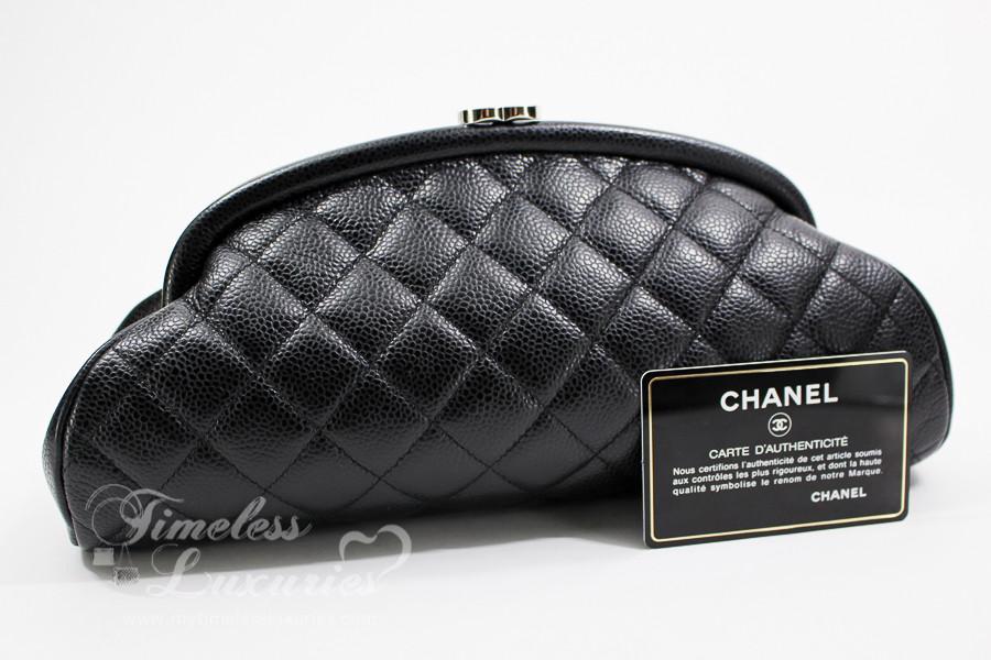 d2a55bb155d5cb CHANEL Black Caviar Timeless Clutch Bag Silver Hw #11648401 - Timeless  Luxuries