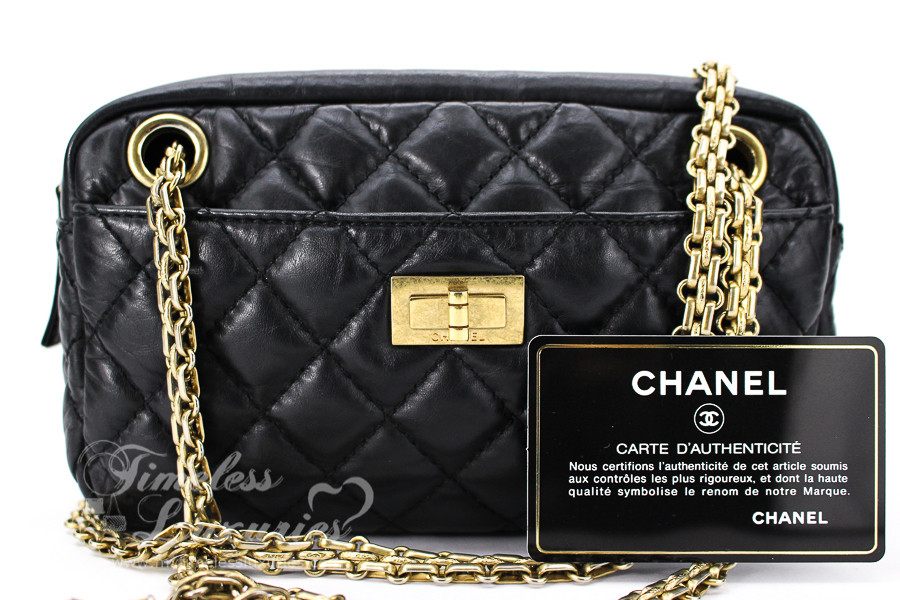 adde46cf2cb5 CHANEL Black Aged Calf 2.55 Reissue Camera Case Bag Gold Hw #12295970 -  Timeless Luxuries