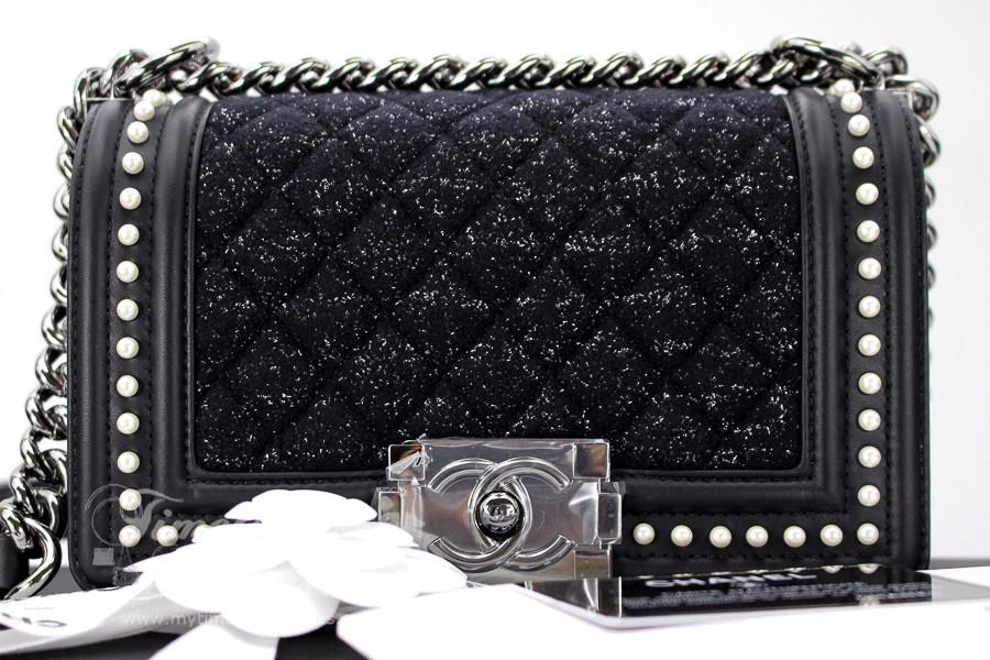 91ad25a40b11c9 CHANEL 18B Tweed & Pearls Black Calfskin Boy Flap Bag #26xxxxxx *New -  Timeless Luxuries