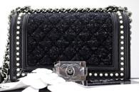 CHANEL 18B Tweed & Pearls Black Calfskin Boy Flap Bag #26xxxxxx *New