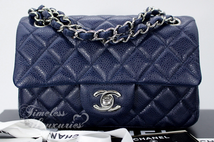0c2a38193d3f CHANEL Navy Blue Caviar 4-Grommet Rectangle Mini Silver Hw #15521433 -  Timeless Luxuries