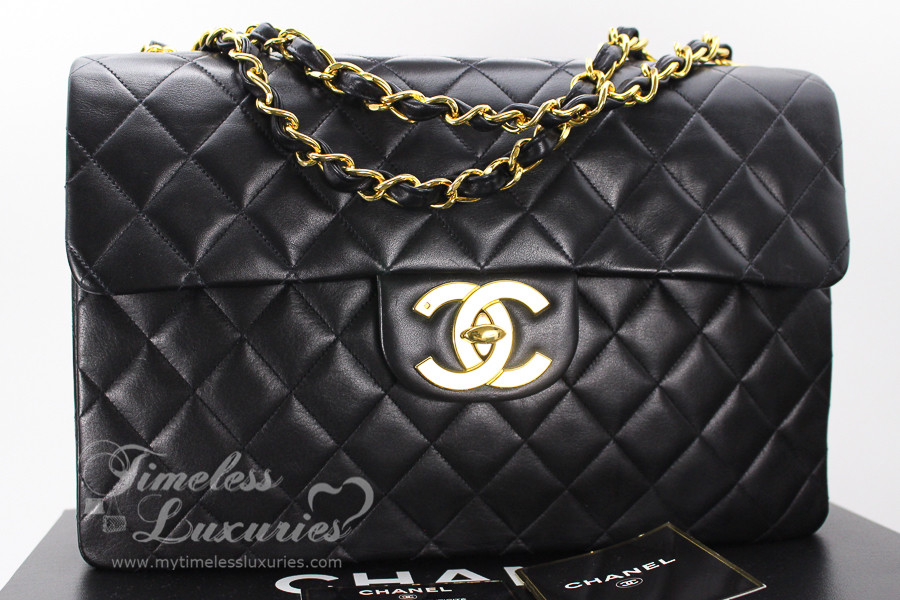 2466ee556728 CHANEL Black Vintage Jumbo XL/ Maxi Classic Flap Bag Gold Hw #3303293 -  Timeless Luxuries