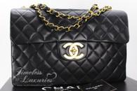 CHANEL Black Vintage Jumbo XL/ Maxi Classic Flap Bag Gold Hw #3303293