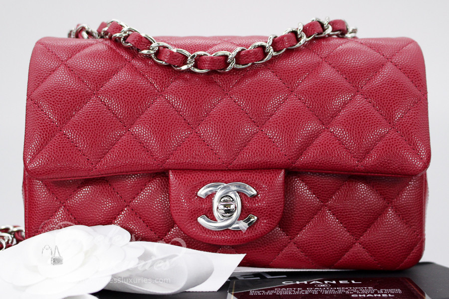 16f3f2a3208e CHANEL 18B Raspberry Pink Caviar Rectangle Mini Silver Hw #26xxxxxx *New -  Timeless Luxuries
