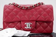 CHANEL 18B Raspberry Pink Caviar Rectangle Mini Silver Hw #26xxxxxx *New