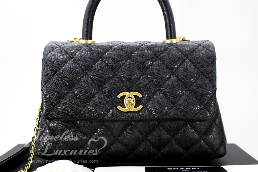 53d2b0c9f897 CHANEL Black Caviar Mini Coco Handle Flap Bag Gold Hw #25783482 *New -  Timeless Luxuries