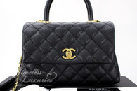 CHANEL Black Caviar Mini Coco Handle Flap Bag Gold Hw #25783482 *New