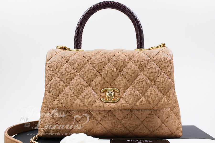 7280684dc161c1 CHANEL Beige Caviar/ Lizard Mini Coco Handle Gold Hw #24215239 *New -  Timeless Luxuries